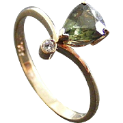 Vintage Diamond and Australian Green Sapphire Dress Ring