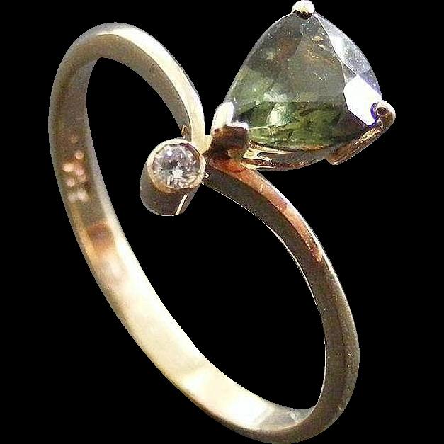 Vintage Diamond and Australian Green Sapphire Dress Ring