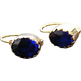 Antique French Blue Paste Earrings 18 k Yellow Gold