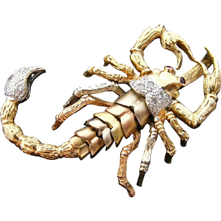 Large Articulated Scorpion Pendant,  with Ruby, White Sapphire Detail, 18 k Four Color Gold