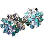 Retro Era Natural Emerald and White Sapphire Post and Clip On Earrings/ Dress Clips, Sterling Sapphire