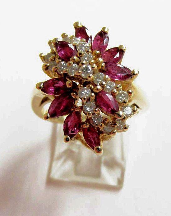 Ladies Estate Ruby and Diamond Ring