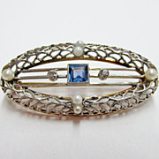 Vintage Sapphire, Diamond & Cultured Pearl Filagree Brooch