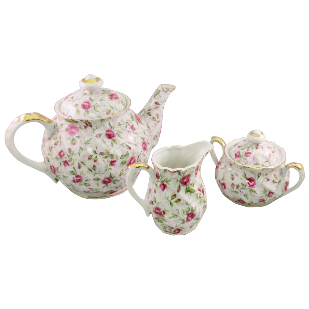 Lefton Rose Chintz Tea Set
