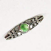Handmade Arts & Crafts Sterling Pin with Enamel Accent
