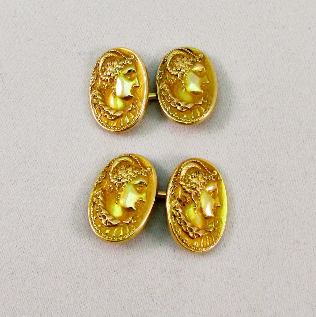 Vintage 14K Golden Cameo Cuff Links