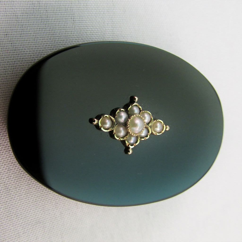 Onyx and Cultured Pearl Victorian Mourning Brooch