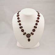 Antique Bohemian Rose Cut Garnet Necklace