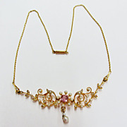 Ladies Floral Seed Pearl Necklace