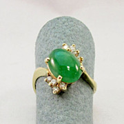 Estate Jade and Diamond Ring