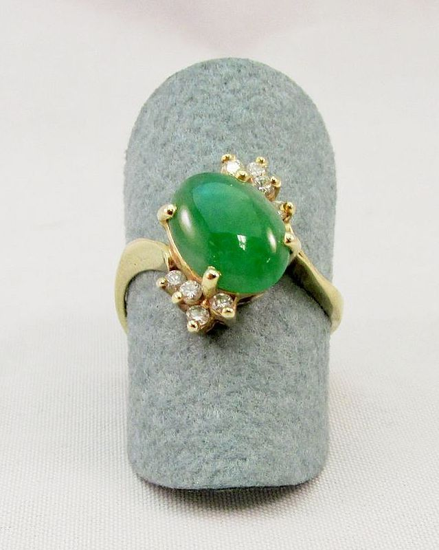 Estate Jade and Diamond Ring