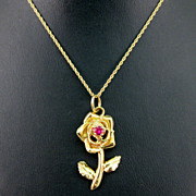 Gold Rose Pendant with Ruby