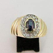 Estate Men's Sapphire and Diamond Ring