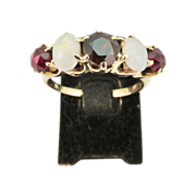 Vintage Ladies Garnet and Opal Ring
