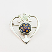 Vintage Scottish Silver and Millefiori Glass Pin