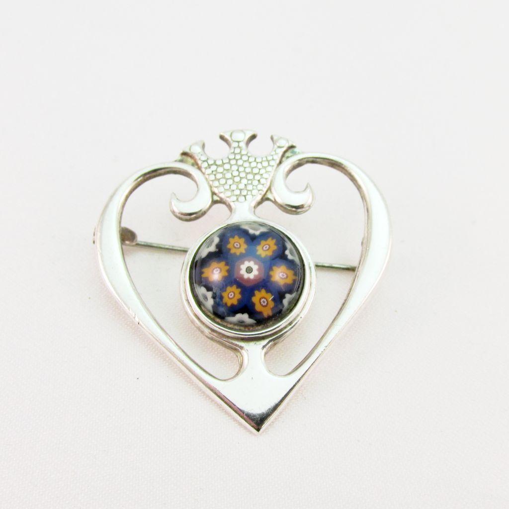 Vintage Scottish Silver and Millefiori Glass Pin