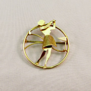 Vintage Ladies Golfer Circle Pin