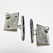 Sapphire, Diamond, and Cultured Pearl Cuff Links