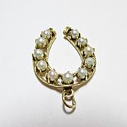 Pearl Horseshoe Pendant/Charm