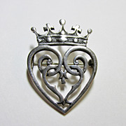 Silver Heart with Crown Pin