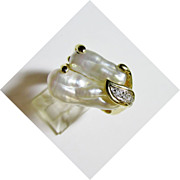 Ladies Biwa Pearl and Diamond Ring