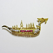 Ruby and Diamond Thai Dragon Boat Pin