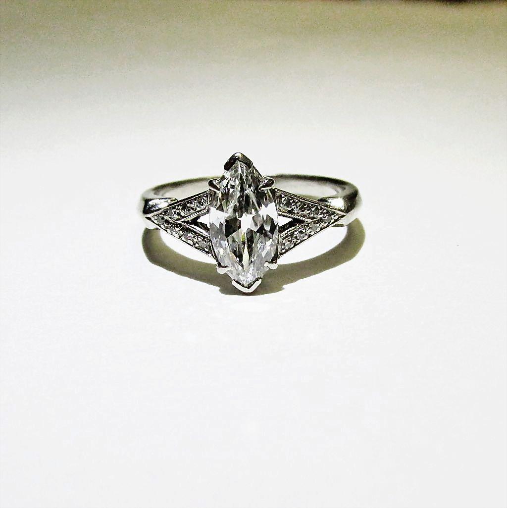Ladies 18 Karat White Gold Marquise Diamond Ring