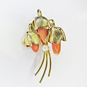 Vintage Hobe Coral and Cultured Pearl Pin