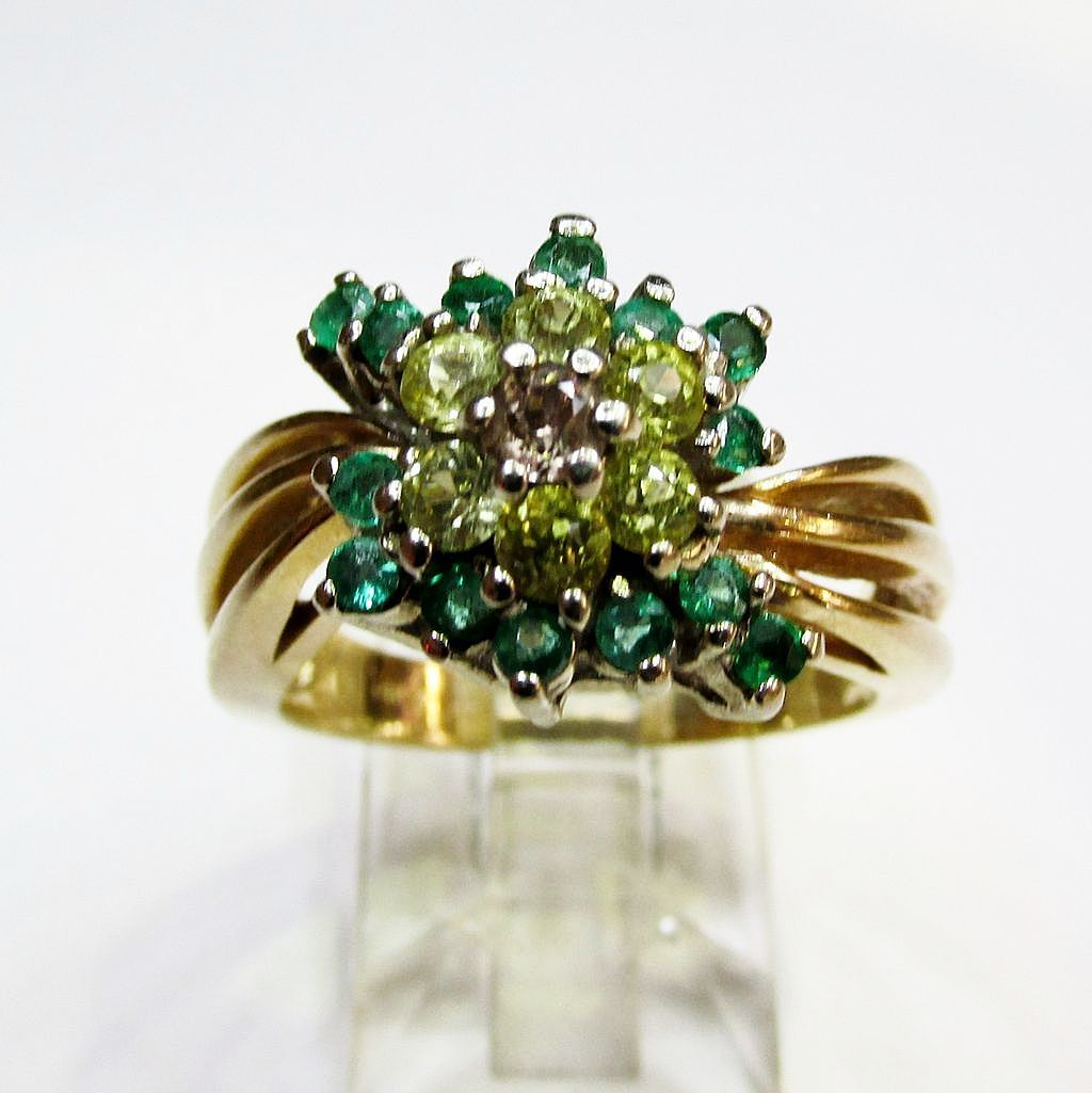Estate Emerald, Yellow Sapphire and Diamond Ring