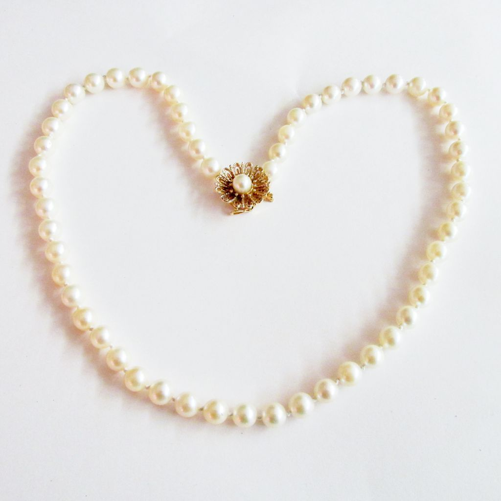Pearl Necklace Clasp: Cultured Pearl Necklace With Floral Gold Clasp From