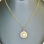 Cultured Pearl and Ruby Pendant