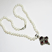 Cultured Pearl Necklace with Silver and Garnet Pendant