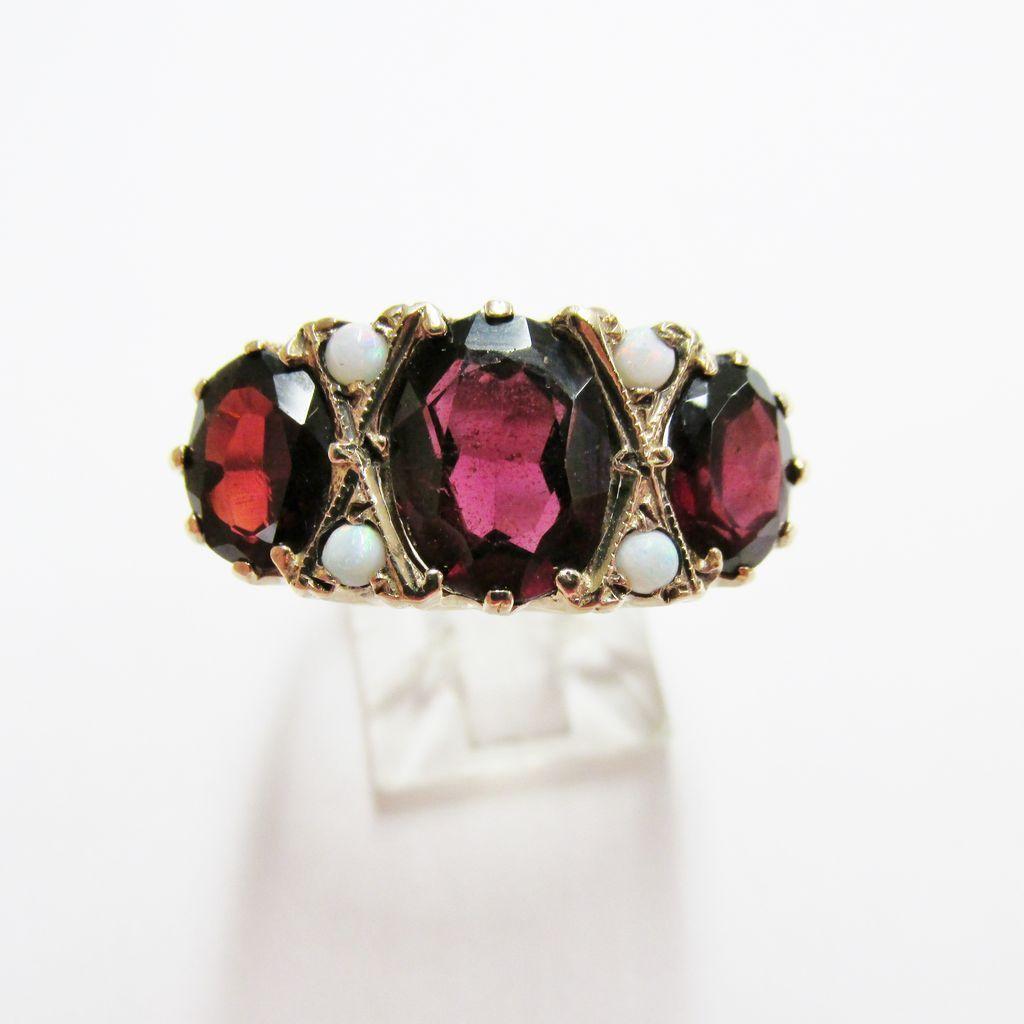 Ladies Estate Garnet and Opal Ring