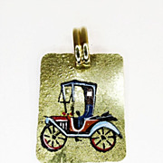Gold Enamel Antique Car Pendant