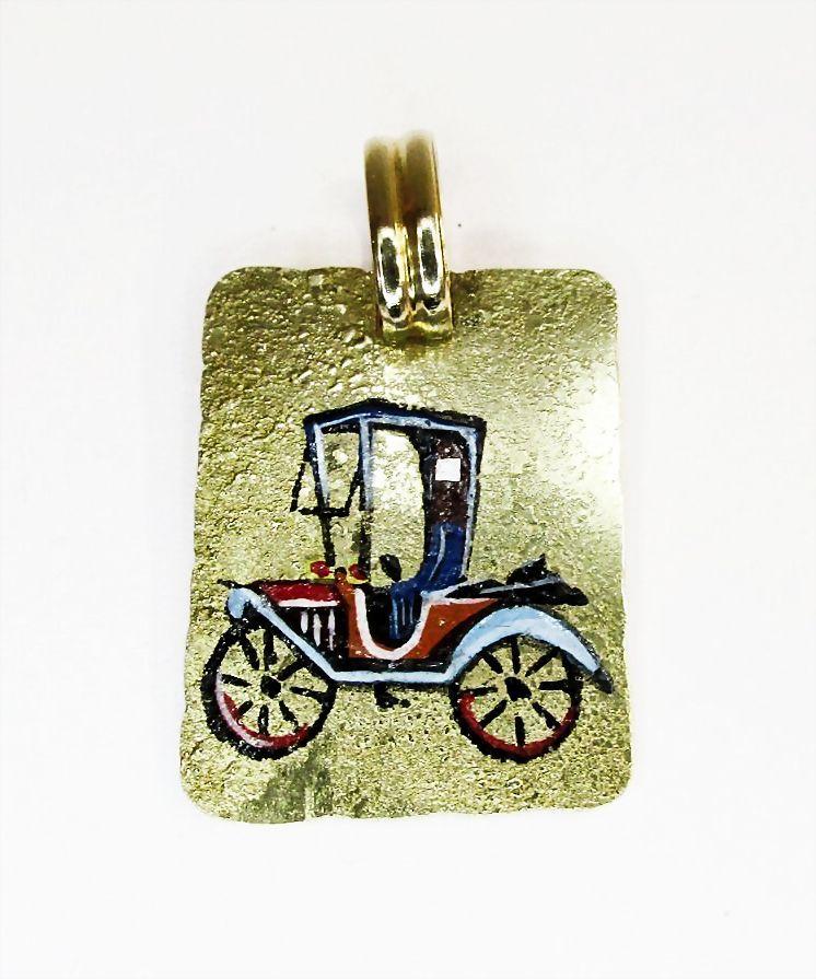 Gold Enamel Antique Car Pendant