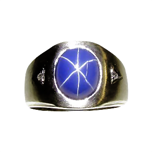 Men S Vintage Linde Star Sapphire With Diamonds Ring From
