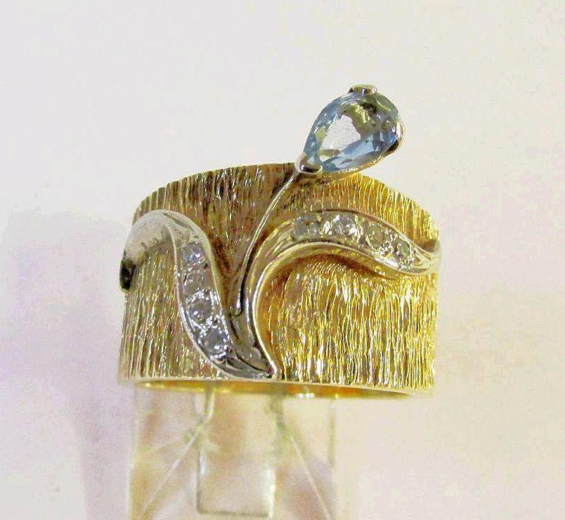 Estate Aquamarine and Diamond Wide Band Ring