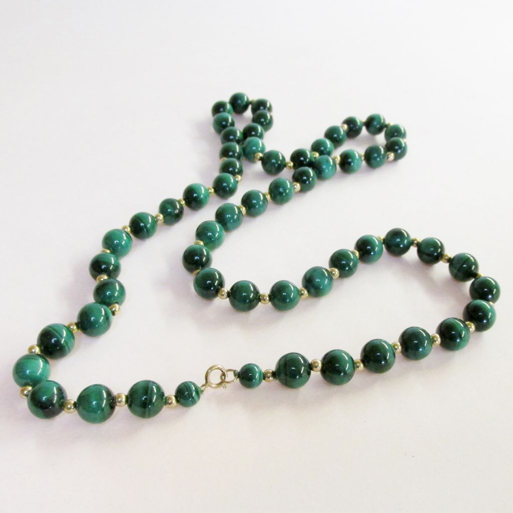 malachite bead necklace from warejewelry on ruby