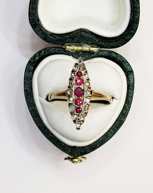 Ruby and Diamond Marquis Shaped Ring