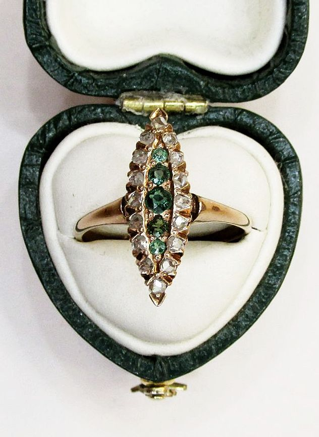 Emerald and Diamond Marquis Shaped RIng