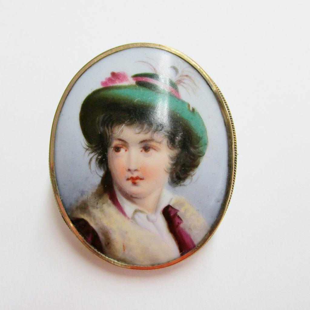 Estate Hand Painted Porcelain Brooch