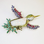 Vintage Opal Gemstone Hummingbird Brooch
