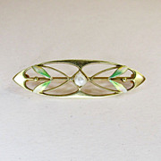 Art Nouveau Enamel and Cultured Pearl Pin