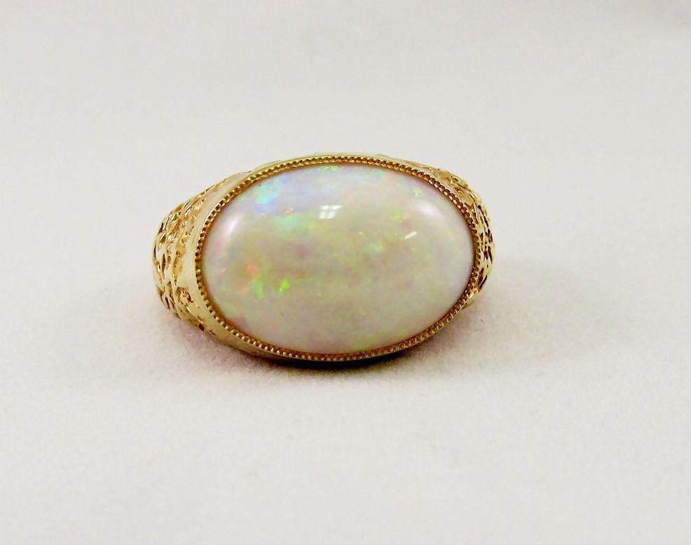 Men's Opal Oval Ring