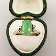 Ladies Apple Green Jade and Diamond Ring