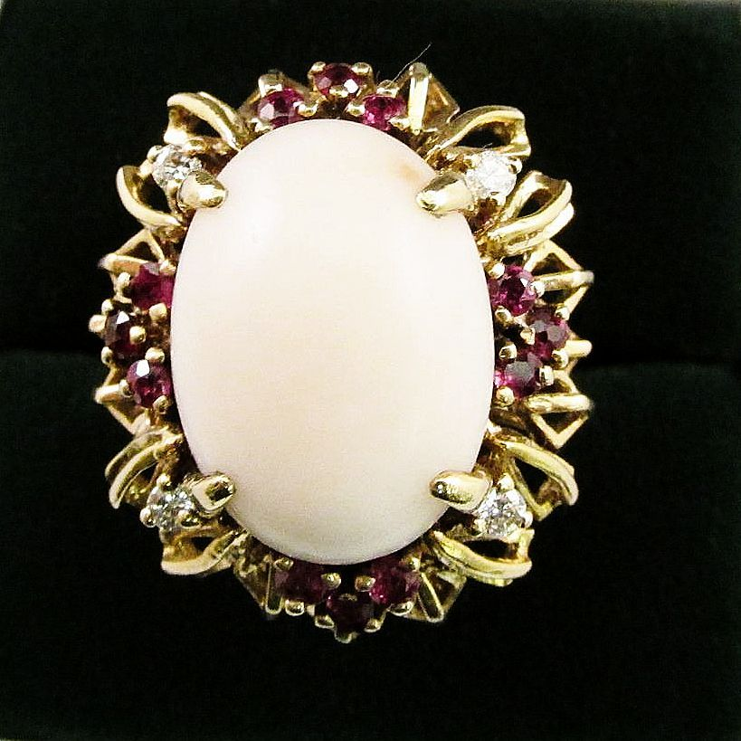 Angel Skin Coral, Ruby and Diamond Ring