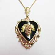 Estate Tricolor Black Hills Heart Motif Pendant