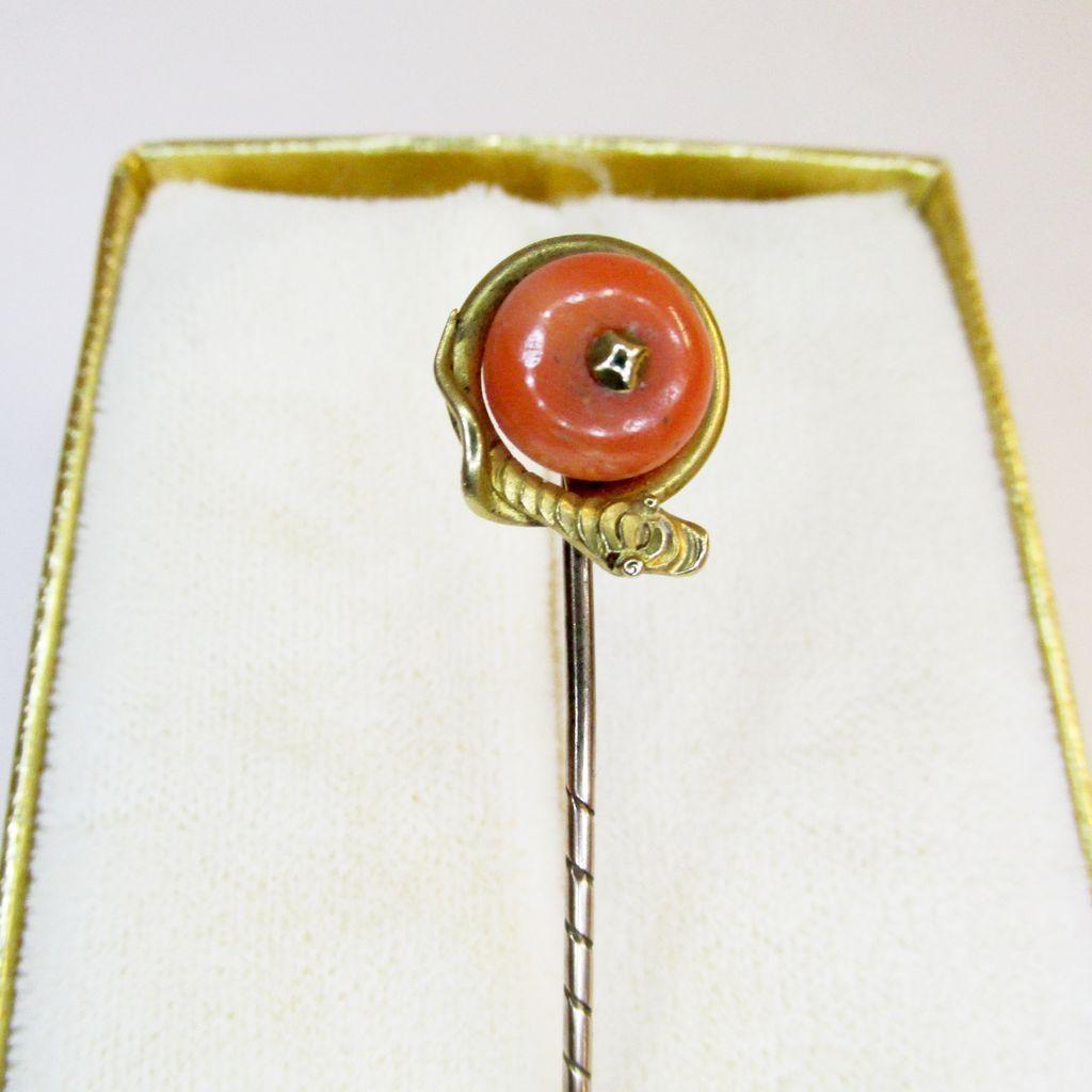 Antique Snake Motif Coral Stick Pin
