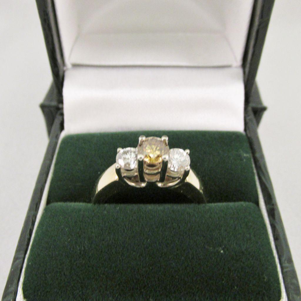 Estate Cognac and White Diamond Ring