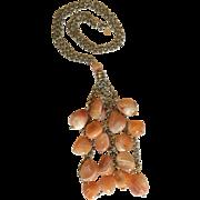 Orange Banded Carnelian Agate Long Necklace/ Sterling Silver